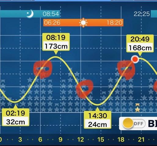 潮の流れがある時間帯
